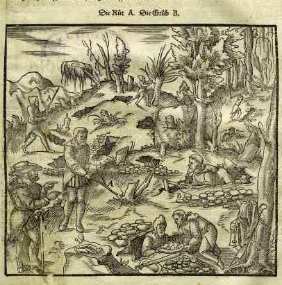 1557 - Agricola, Georg [Bechius, Philippus]  - Vom Bergkwerck - S. 31 Wünschelrutengänger
