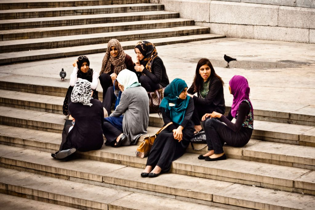 Enjoying the afternoon at Trafalgar Square.
